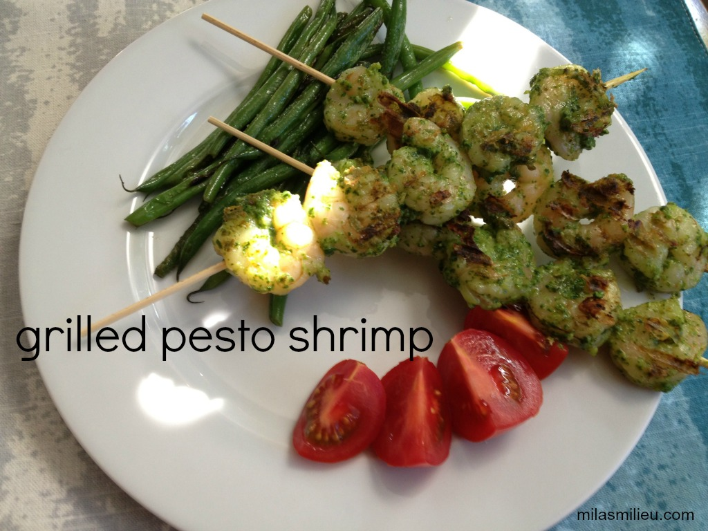 Quick dinners: grilled pesto shrimp skewers.